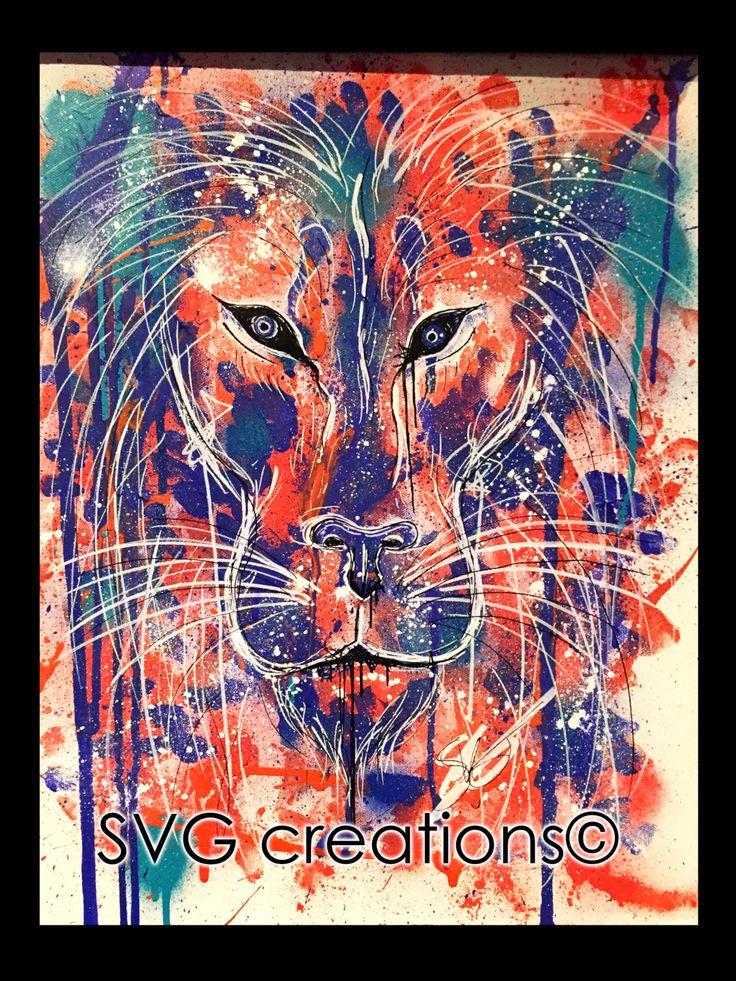 Lion peinture abstrait giclées de couleurs toile 16 x 20 moderne de la boutique SVGCreations13 sur Etsy