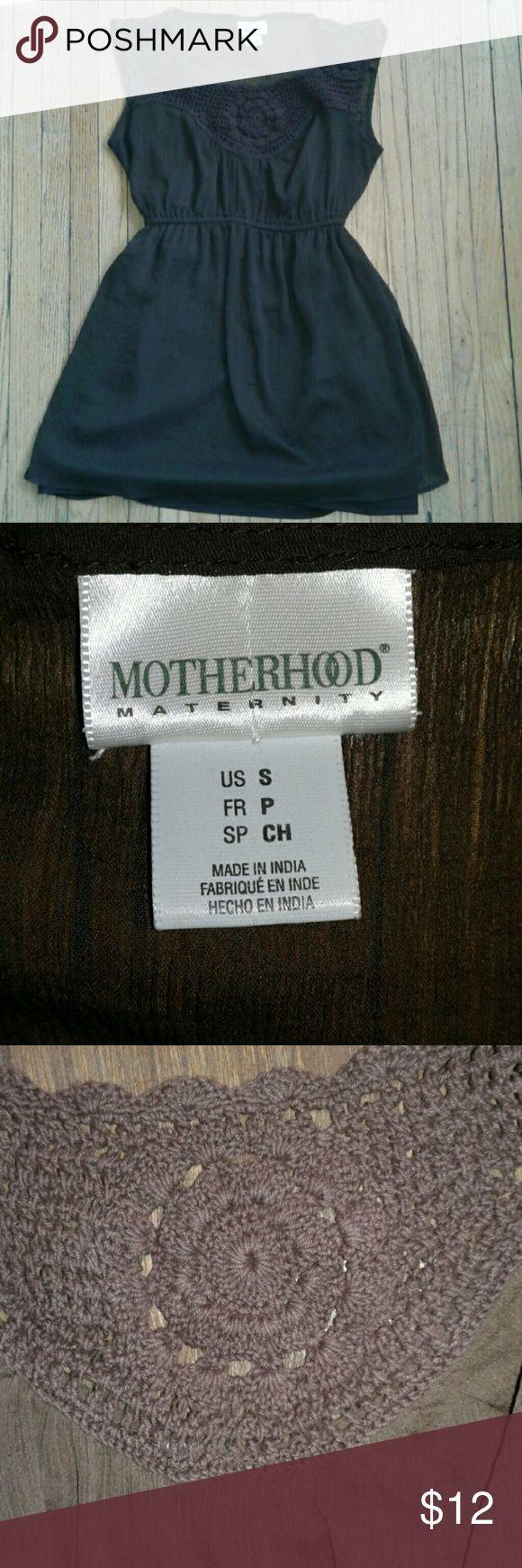 Crochet chiffon maternity tank Sheer brown chiffon like tank. Crochet bust. Attached silky brown cami. 1 small snag as shown. Motherhood Maternity Tops Tank Tops