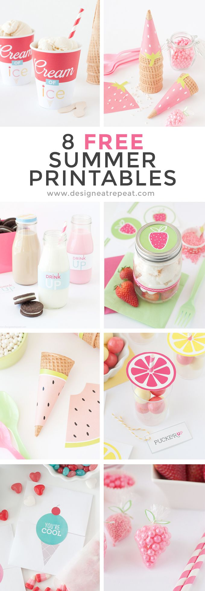8 Free Printables that are perfect for summer parties! Download each at Design Eat Repeat Blog!