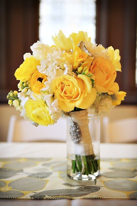 yellow roses and white hydrangea bouquet