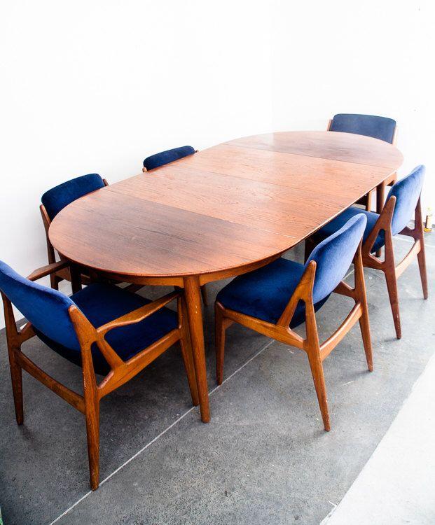 Danish Modern Dining Set Table Chairs 6 Arne Vodder Vamo Solid Teak Wood Mid Century Modern Anton Borg FREE SHIPPING by MidCenturySacramento on Etsy https://www.etsy.com/listing/278320490/danish-modern-dining-set-table-chairs-6