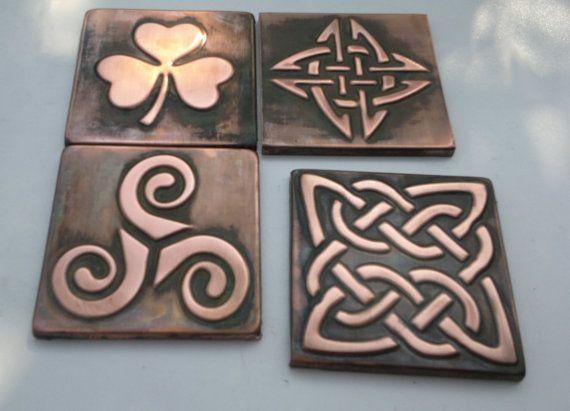 Set of 4 copper  tiles , Celtic decor, celtic shamrock, triskel, celtic knot, Kitchen backsplash,copper decor, celtic accents made