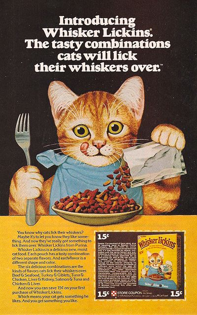 Too cute vintage cat food ad.  1976 Ralston Purina Whisker Lickins Cat Food . Image from Gregg Koenig's Flickr acct