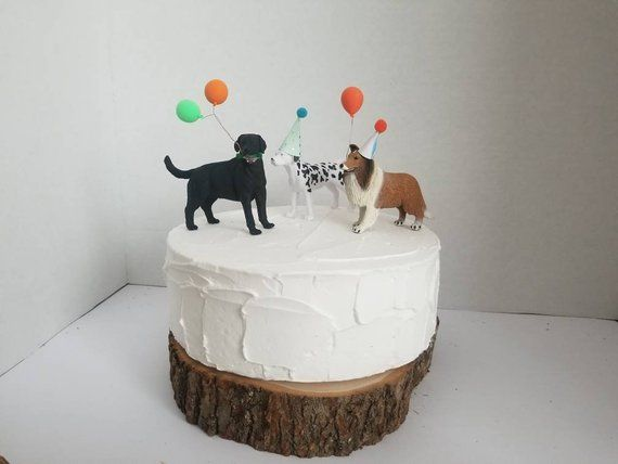 Dog Friends Cake Topper Set 3 Dogs With Hats And Balloons Doggy