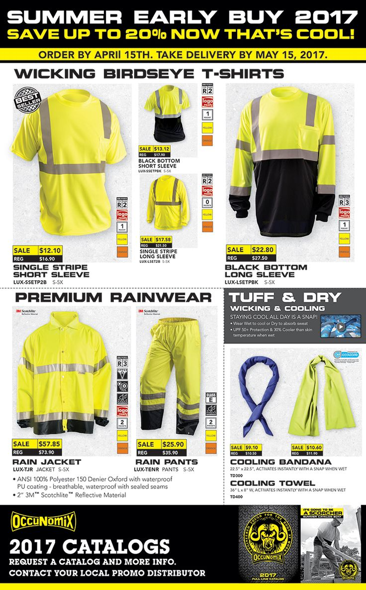 SAVE UP TO 20%: OccuNomix SAFETY T-Shirts, Cooling Bandanas & More