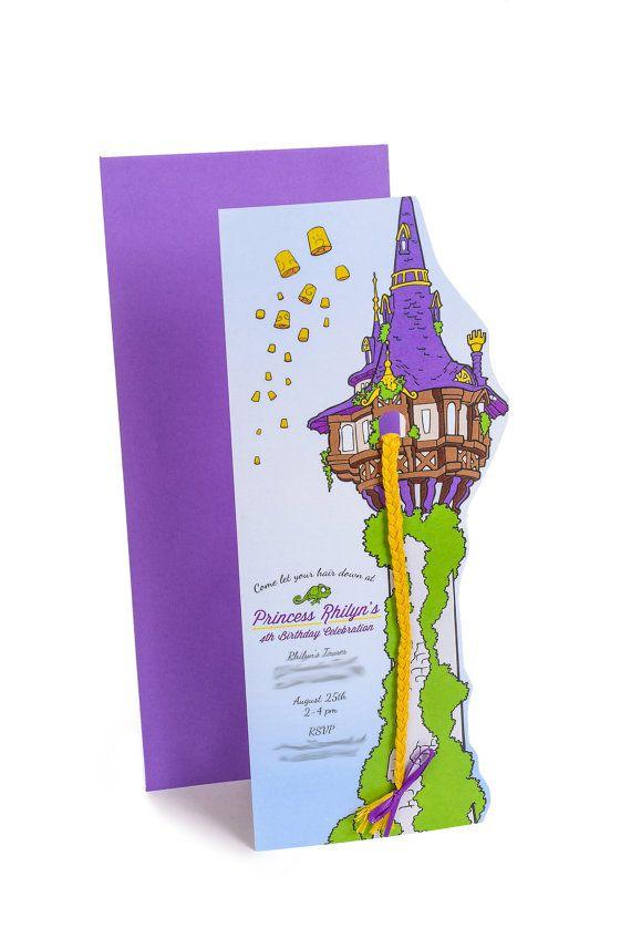 Inviti festa di compleanno di Rapunzel stampabile PDF