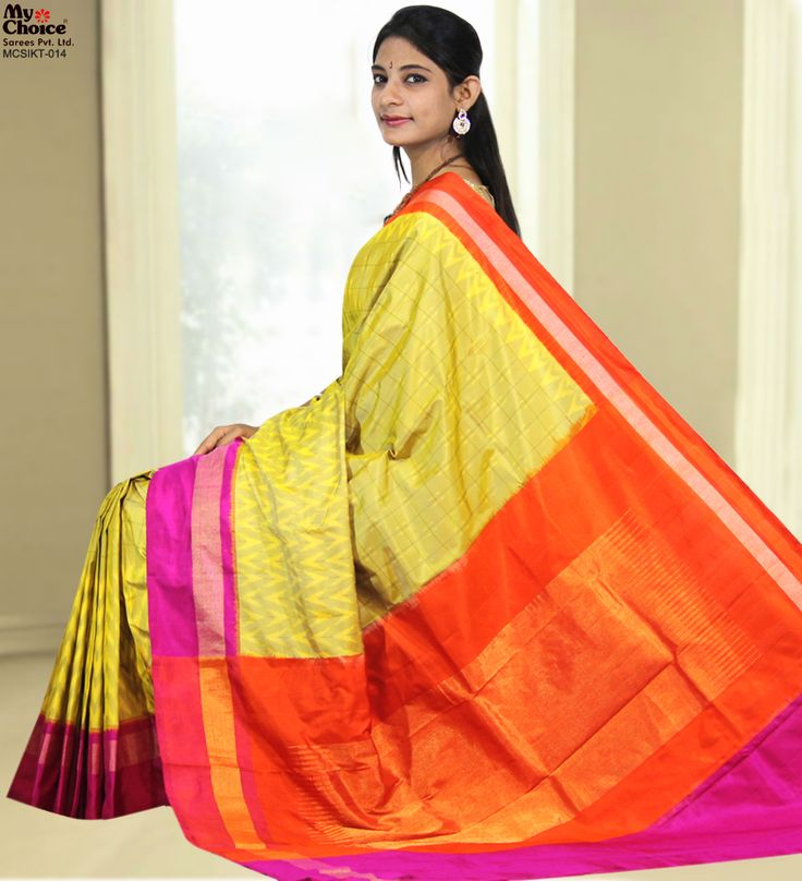 Yellow With Pink & Red Combination Ikat Saree