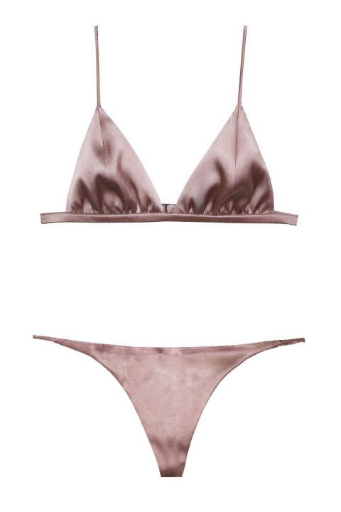 Designed like a silky bikini, this one's all about showing off what you've got—whether it's worn alone or under a blazer Rihanna-style. Luxe Triangle Bra, $98; fleurdumal.com. Luxe V-String, $45; fleurdumal.com.