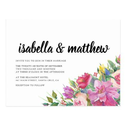 Chic Elegant Typography Floral Wedding Postcard - summer wedding diy marriage customize personalize couple idea individuel