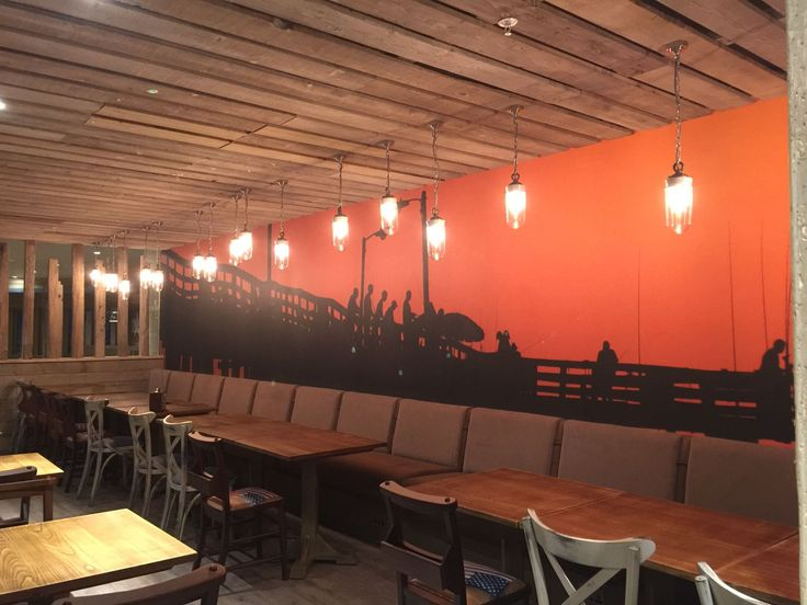 Bespoke wallcoverings at Huck's American Bar and Grill.