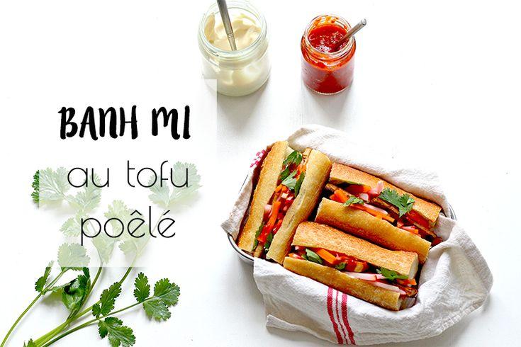 La banh Mi, un sandwich d'inspiration vietnamienne et française dans une version 100% végétal au tofu poêlé et aux légumes croquants marinés