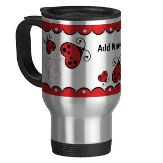 Personalized Custom Red Ladybug Love Bug Hearts Coffee Mug