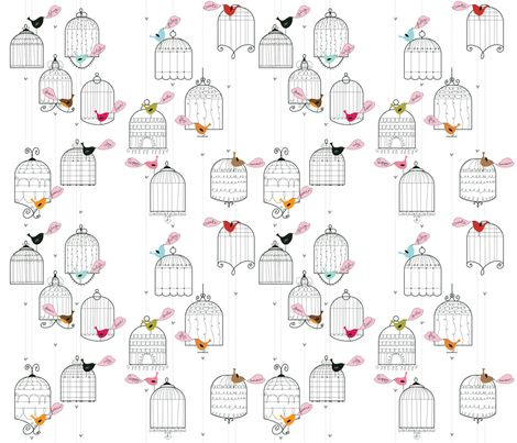 Cheery Birdies fabric by cynthiafrenette on Spoonflower - custom fabric