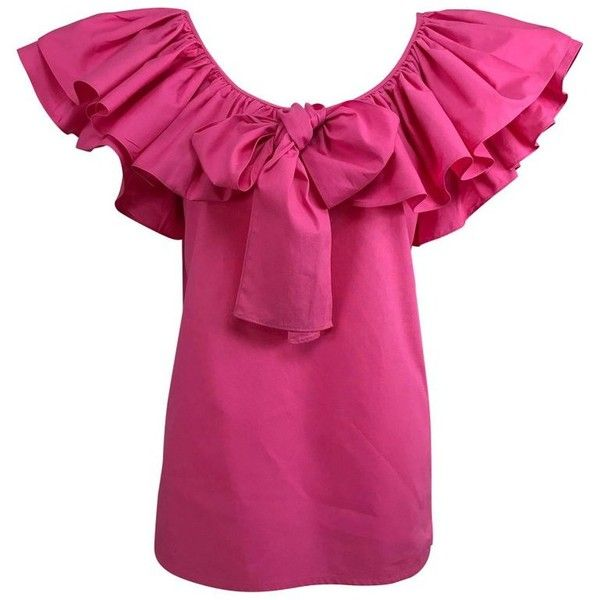 Preowned Vintage Yves Saint Laurent Hot Pink Bow Front Ruffle Peasant... (620 AUD) ❤ liked on Polyvore featuring tops, blouses, pink, ruffle sleeve blouse, collar blouse, pink ruffle blouse, hot pink blouse and tie blouse