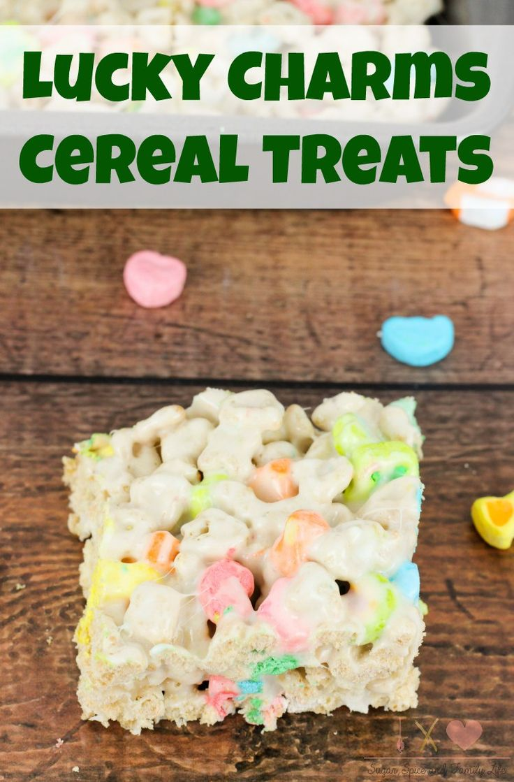 Lucky Charms Treats are a delicious kid friendly snack treat for anyone who loves Lucky Charms cereal and marshmallows. It is also makes a great after school snack or St. Patrick's Day snack. - Lucky Charms Cereal Treats Recipe on Sugar, Spice and Family Life