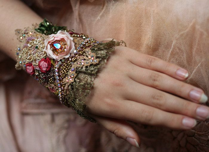 Tea rose romantic shabby chic wrist cuff antique by FleurBonheur