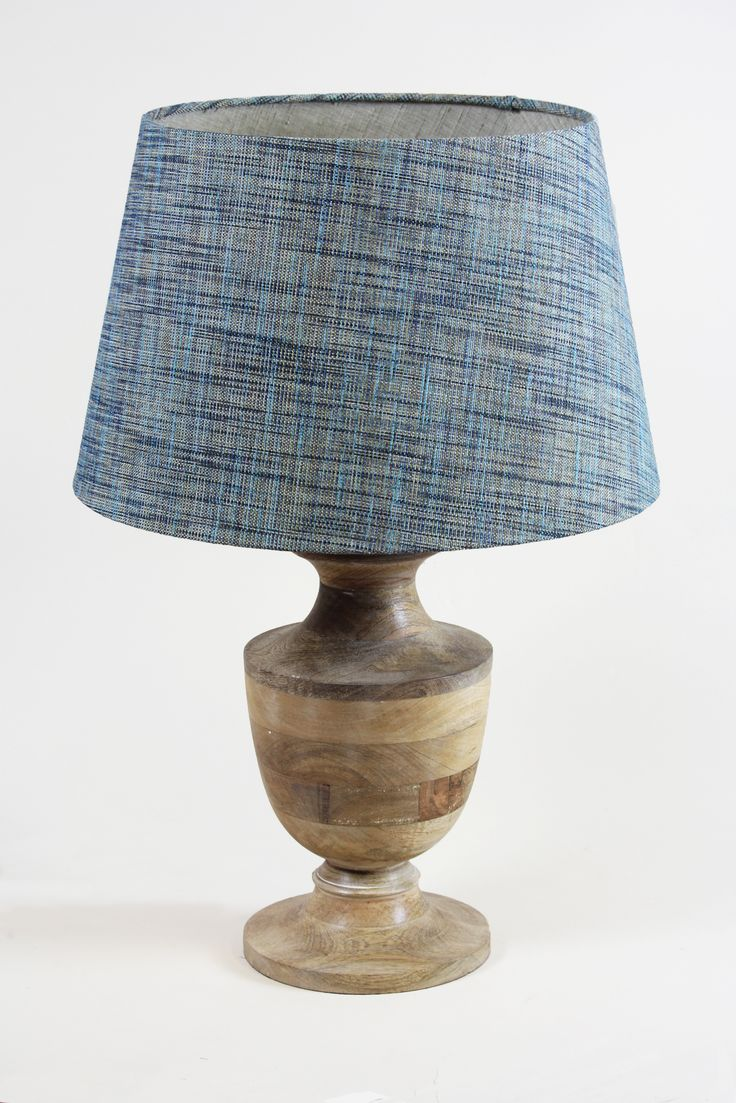 Handmade 45cm Tapered shade - Fine weave 'Topaz', Varanasi 'Marble' inner. Amal base available from https://www.cotterellandco.com/amal-wooden-table-lamp-in-natural-base-only