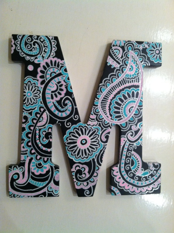 Handpainted black wooden letter by NotSoPlainJaynes on Etsy, $40.00