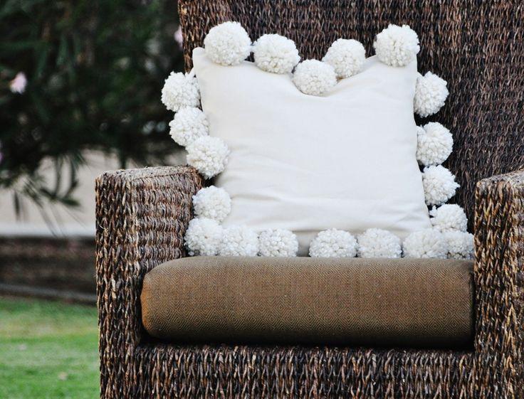 Mondo Pom Pillow - Make a pillow with HUGE pom poms! PB inspired!