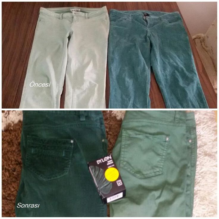 Bizden ,DYLON - Dark Green fabric dye(koyu yeşil) ..kumaş boyası alan müşterimizin gönderisi olan boyamadır.Teşekkür ederiz bizimle paylaştığınız için Mehtap Hanım..yeni rengiyle güle güle kullanın pantolonlarınızı.. http://www.gagva.com.tr/Koyu-Yesil-Dark-Green-Fabric-Dye,PR-885.html
