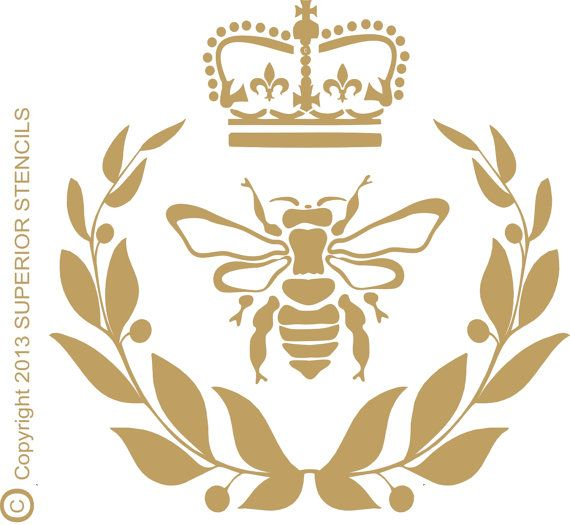 """Stencils- Royal Bee Stencil with Crown and wreath- 12"""" wide x 12"""" Tall Wall Stencil Signs French"""