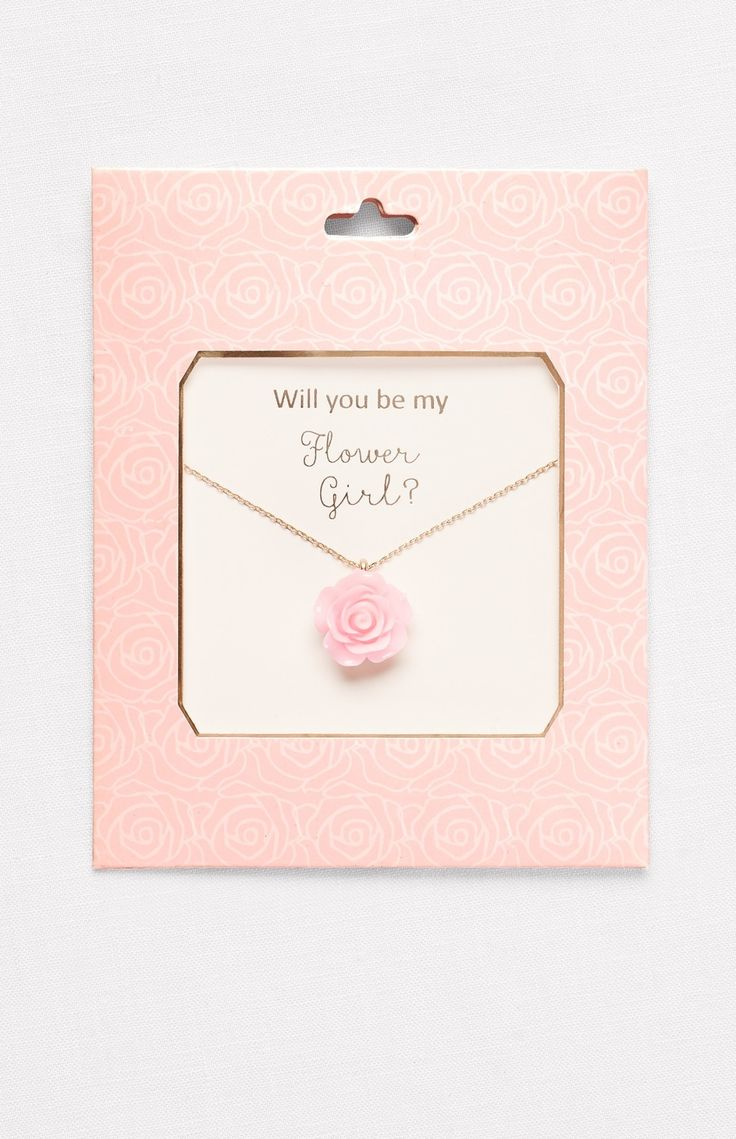 Best 25 asking flower girl ideas on pinterest xo liquor kiss a perfect pink rose blooming on a delicate chain asks the special little lady in your life will you be my flower girl dhlflorist Image collections