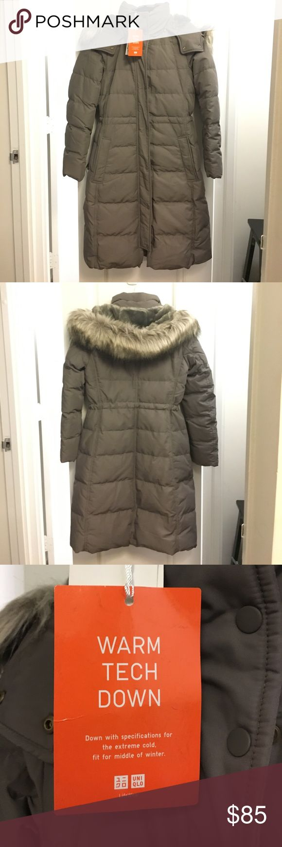 Uniqlo Warm Tech Down Coat Uniqlo down winter coat with heat tech technology. Removable lined hood with faux fur trim. Brand new, never worn, tags on. Uniqlo Jackets & Coats Puffers