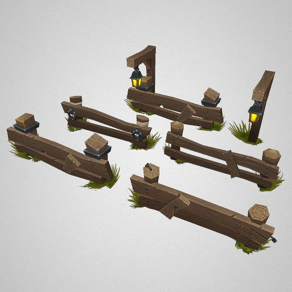 Low Poly Barrel n Fence Set There is a new barrel...   Low Poly 3D Models