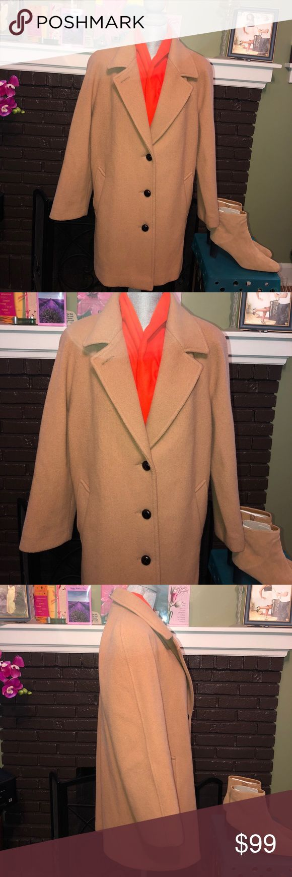 "🏦🛍Forecaster of Boston Camel Wool Coat Size 10 Forecaster of Boston Camel Wool Coat Size 10•Length from shoulder to hem is 33 "". Sleeve length is 25"",Bust measured Flat is 22"". Coat fits up to a size 12 nicely. Was $109 Forecaster of Boston Jackets & Coats"