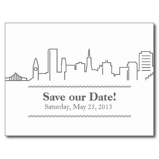 San Francisco #wedding #SavetheDate City Skyline Postcard