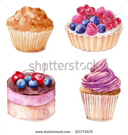 Set of watercolor cupcakes hand drawn illustration on white background. It can be used for card, postcard, cover, invitation, birthday card.