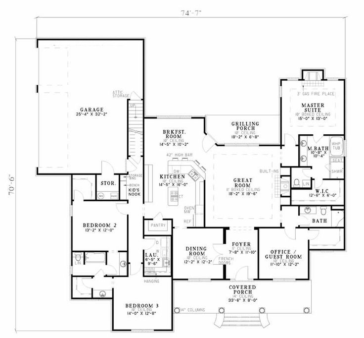 4 bed 3 bath ranch 2556 sq ft office in 4th bed or for Ranch house plans with cost to build