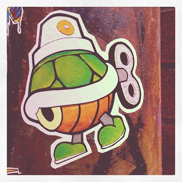 Turtle Cap  Wind-up Koopa graffiti troopa sticker street art spotted bynefasth.