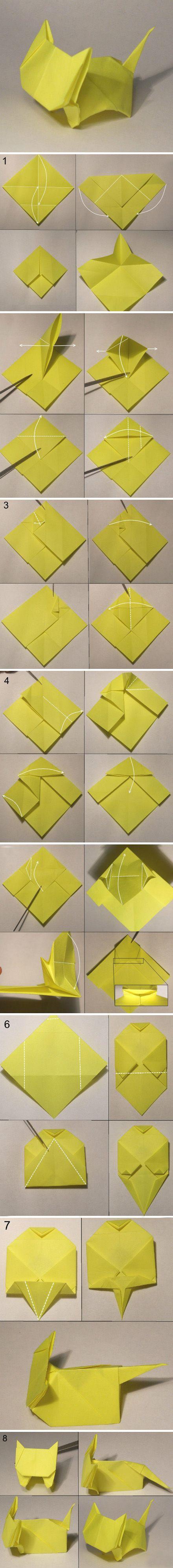 Simple origami kitten paper craft
