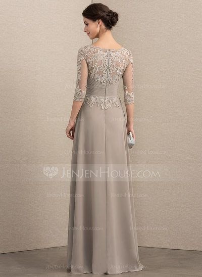20944d4f6e4 A-Line Princess Scoop Neck Floor-Length Chiffon Lace Mother of the Bride  Dress With Crystal Brooch Sequins (008164108) - JenJenHouse