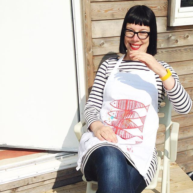 Taken last week - having a break in the sunshine outside the studio - wearing a very well worn screen printed fish apron from years ago! #janefoster