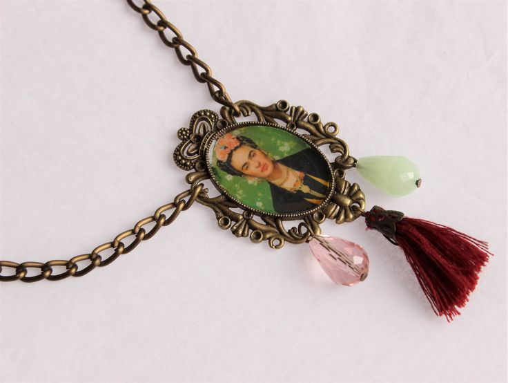 Brass photo cameo necklace with tassel - vintage style - Frida Kahlo by ManthaCreaMiniatures on Etsy