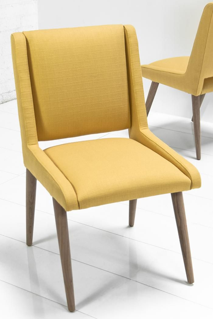 Mid Century Dining Chair In Golden Linen 22 Wide 38 Tall 24