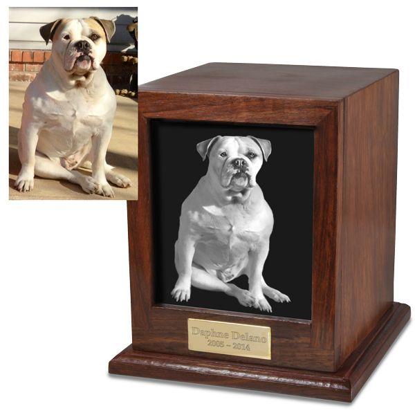 Elegant Photo Wood Dog Urn- Free Engraving!