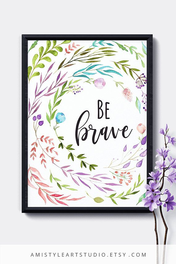 Printable Nursery Wall Art - Dream Big Little One - with watercolor leaves and lettering by Amistyle Art Studio on Etsy