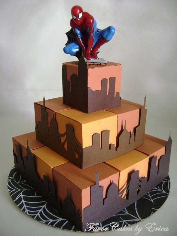 SpiderMan at Sunset Favor Box Cake by FavorCakes on Etsy, $42.00
