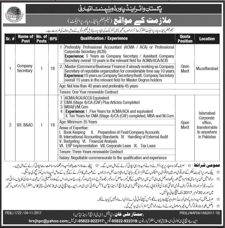 WAPDA Jobs 2017 In Muzaffarabad For Company Secretary http://www.jobsfanda.com/wapda-jobs-2017-muzaffarabad-company-secretary/