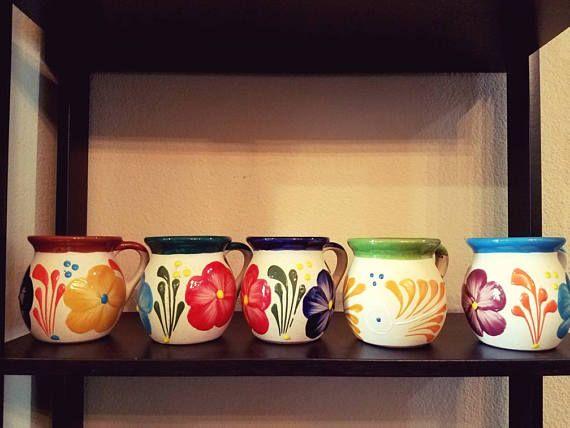 Jarrito de Barro Decorado Decorated Clay Mug Mexican Clay Cups  Made in Mexico