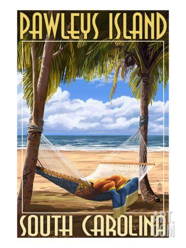 Pawleys Island, South Carolina - Palms and Hammock Print by Lantern Press at Art.com