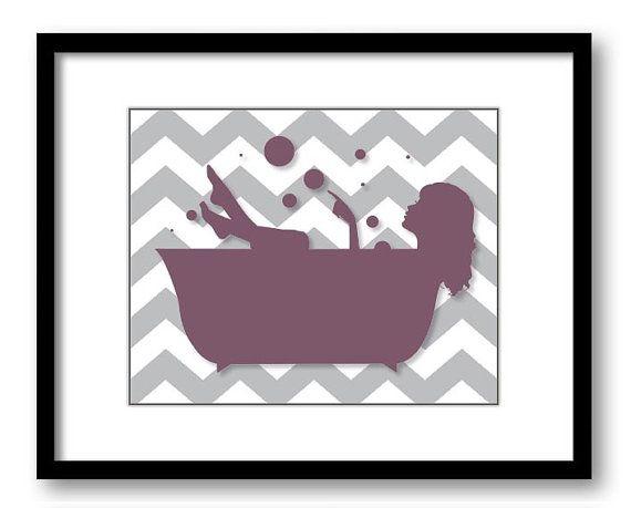 Bathroom decor bathroom print plum purple grey gray girl for Plum bathroom ideas