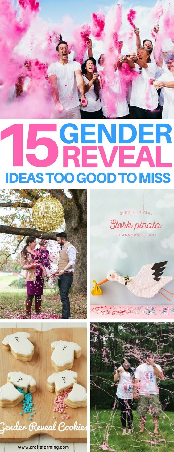 EXACTLY what I was hoping to find - a roundup of some amazing and unique gender reveal ideas that was a huge help for planning a gender reveal party! #genderreveal #baby #pregnant