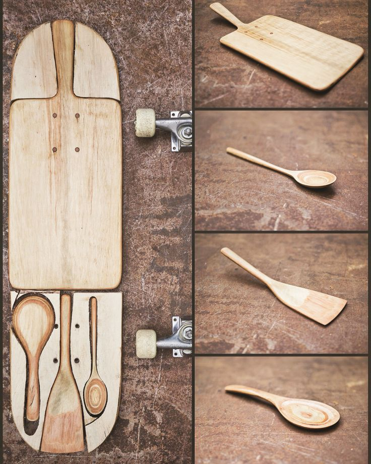 new life of a old skateboard. Servingboard , spoon & spatula .