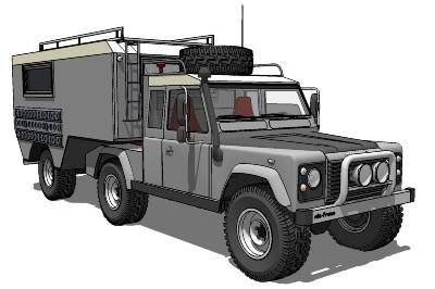 How cool is this! Land Rover Defender 110 + 5th Wheel Camper
