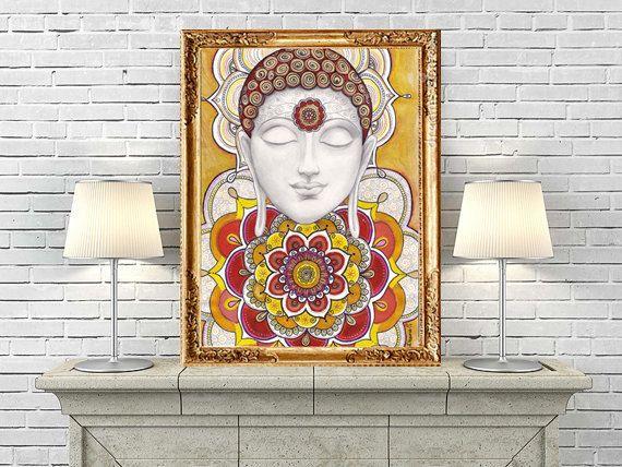 Golden Buddha Painting Instant Digital Download, Mural Buddha Mandala Drawing Wall Art, Zentangle mandala, Golden Ethnic Buddla Wall decor by DHANAdesign on Etsy