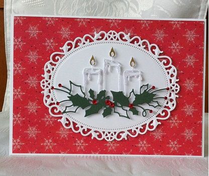 Memory Box Glowing Candles Handmade Christmas Card www.Facebook.com/DHMCards